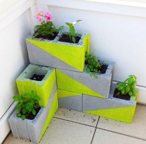 DIY Neon Cinder Block Planters