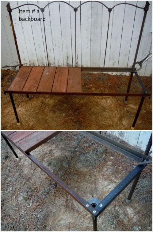 Antique Metal Headboard Bench