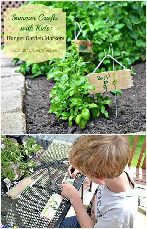 Repurposed Hanger Garden Markers