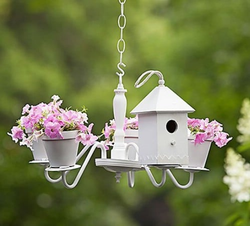 Upcycled Chandelier Birdhouse Planter