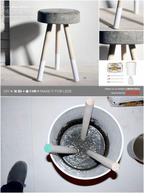 Easy $5 Concrete Barstools