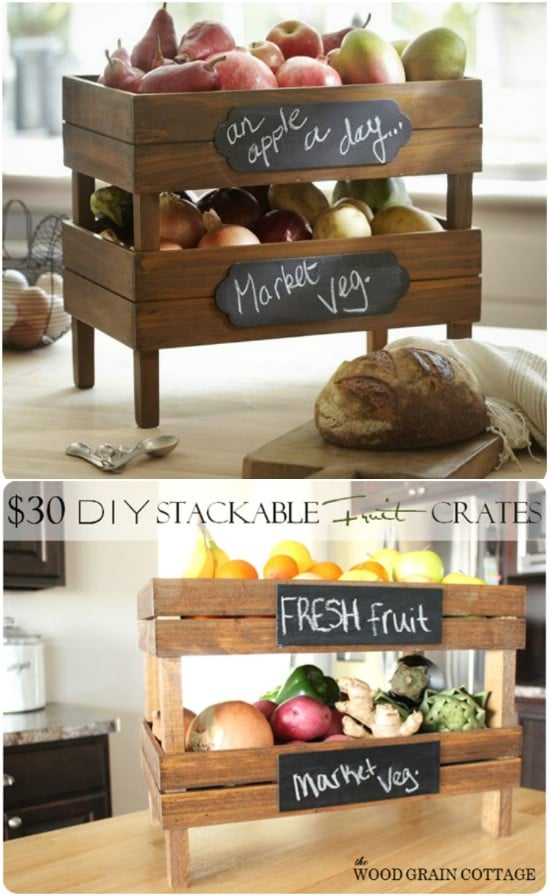 DIY Stackable Kitchen Crates