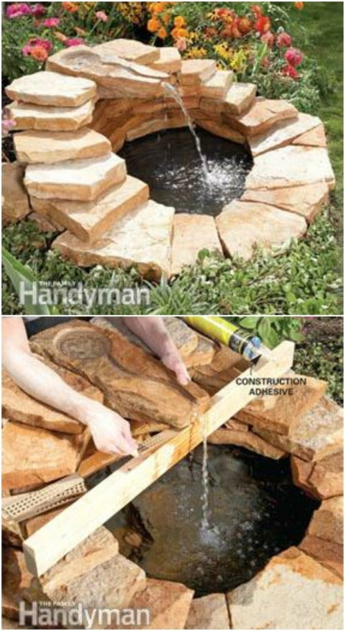 DIY Paver Pond With Fountain
