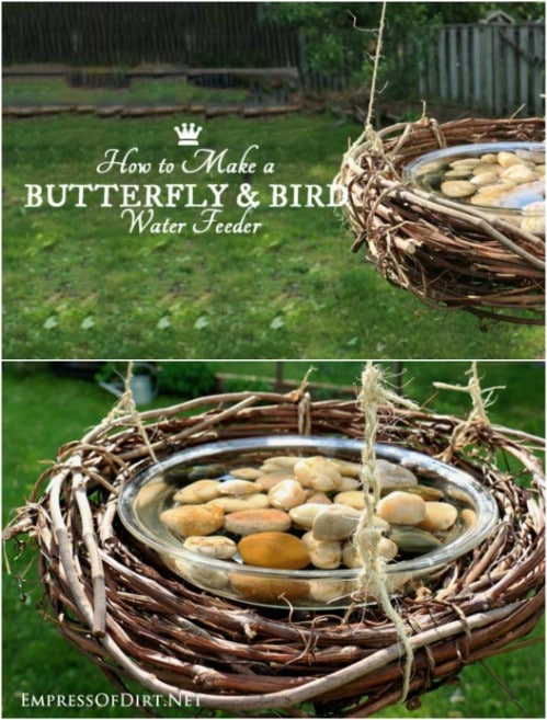 Hanging Grapevine Wreath Butterfly Feeder