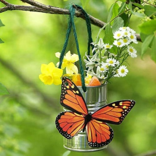 Upcycled Tin Can Butterfly Feeder