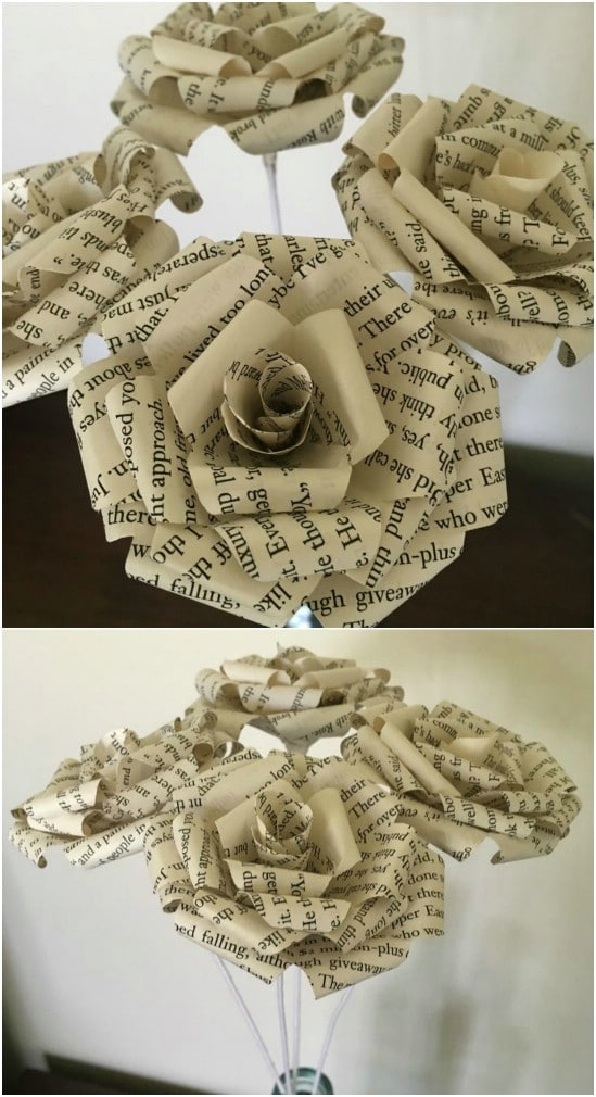 10 easy ways to make gorgeous diy book page roses diy crafts curled petal book paper roses mightylinksfo