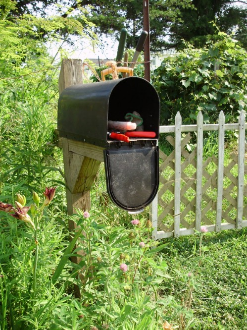 Upcycled Mailbox Garden Tool Holder