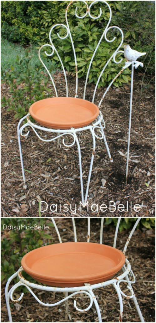 Upcycled Chair Bird Bath