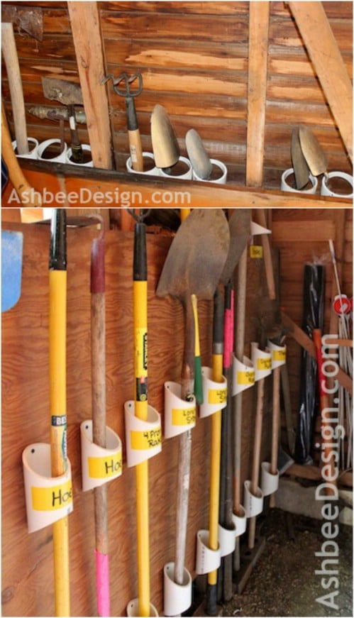 Repurposed PVC Pipe Tool Storage