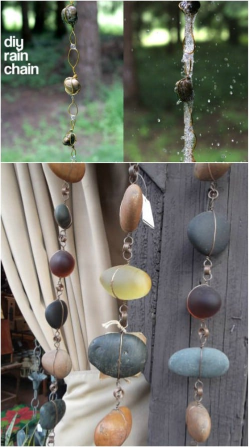 DIY Wire And Stone Rain Chain