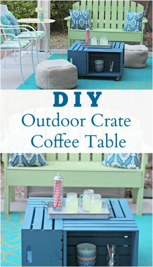 Repurposed Pallet Outdoor Storage Coffee Table