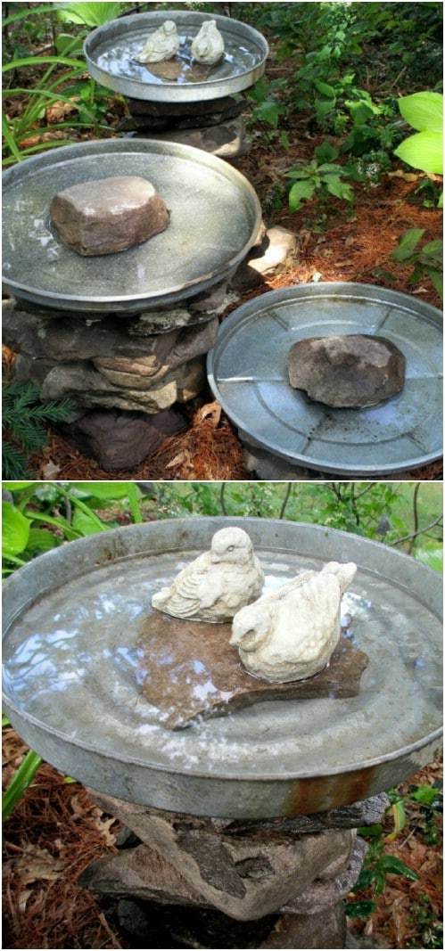 20 adorably easy diy bird baths you ll want to add to your for Diy stone birdhouse