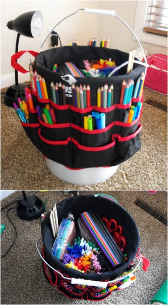 Upcycled Bucket Art Studio Storage