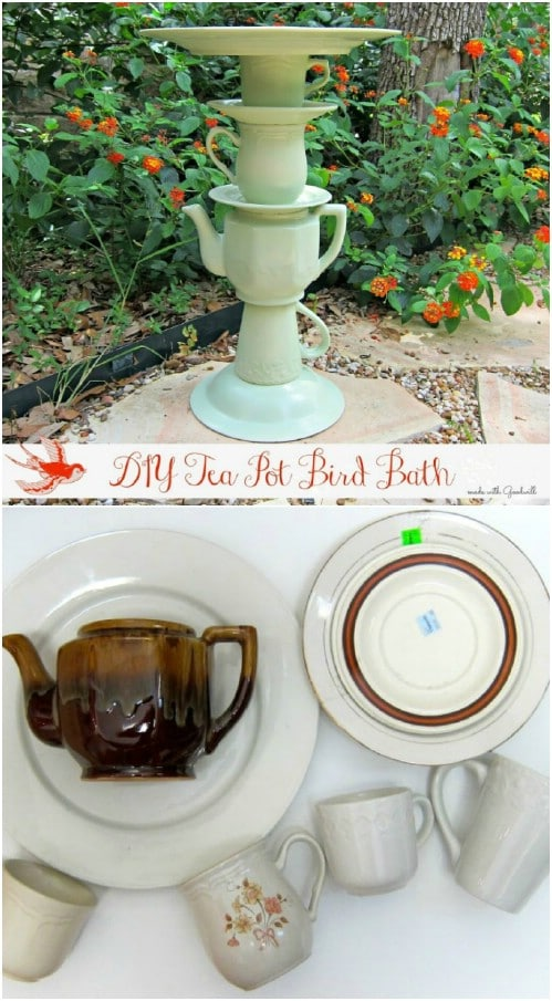 Upcycled Teacup Bird Bath