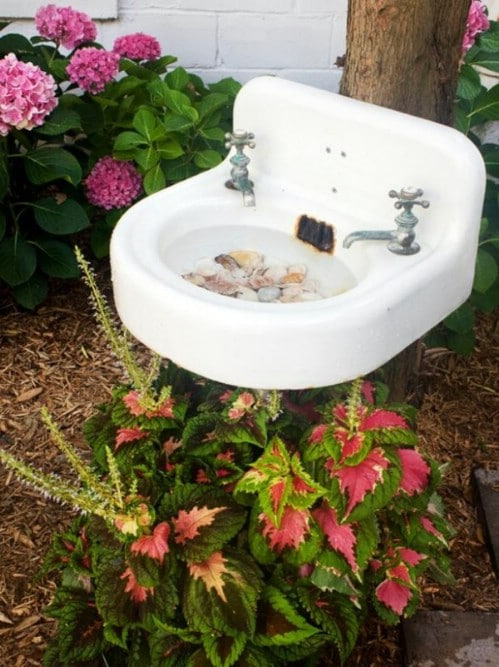 Upcycled Bathroom Sink Bird Bath