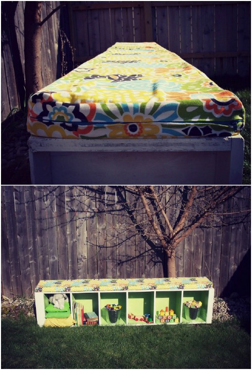 DIY Padded Outdoor Storage Bench