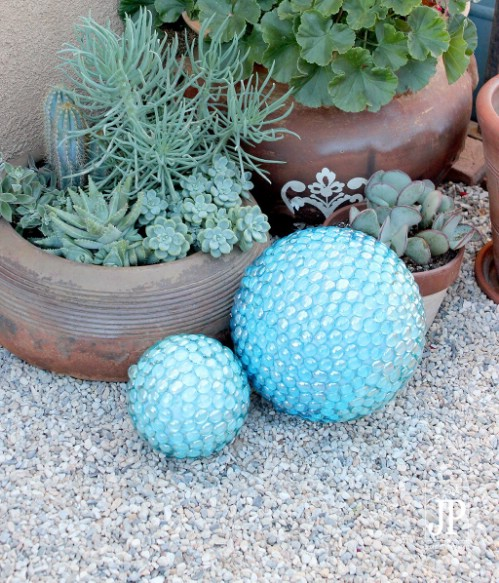 DIY Glass Stone Covered Gazing Balls