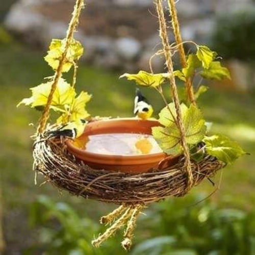 Grapevine Wreath Hanging Bird Bath