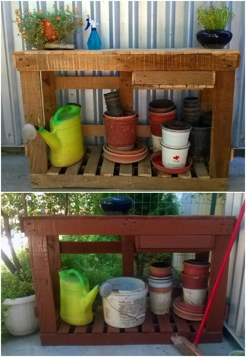 DIY Potting Bench With Storage
