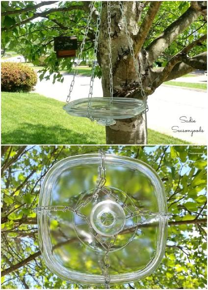 Repurposed Glass Hanging Bird Bath