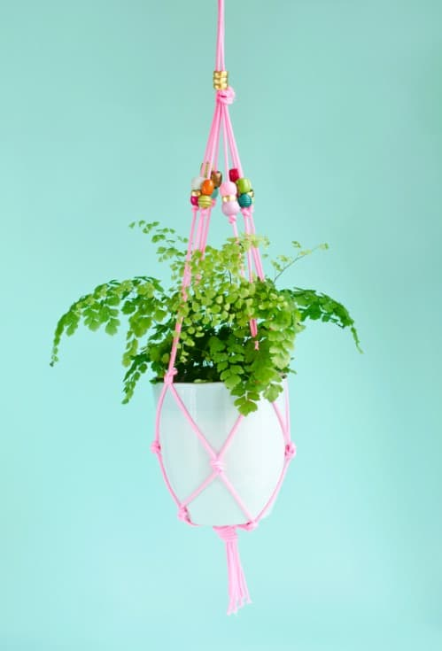 Easy $10 Hanging Beaded Planter