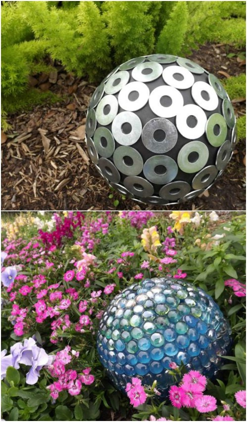 Washer Covered DIY Garden Gazing Ball