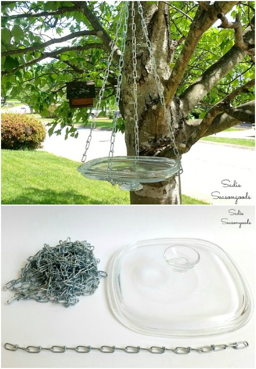 Upcycled Glass Lid Hanging Bird Bath