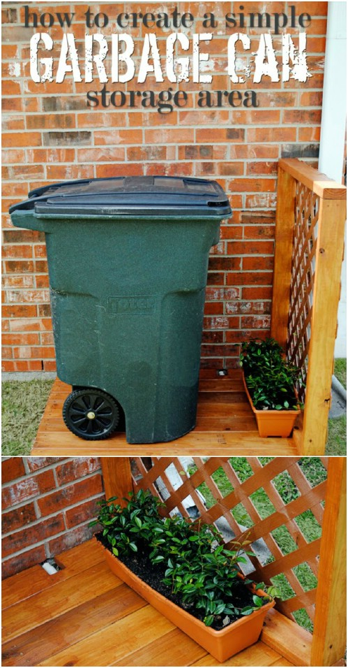 DIY Garbage Can Storage Area