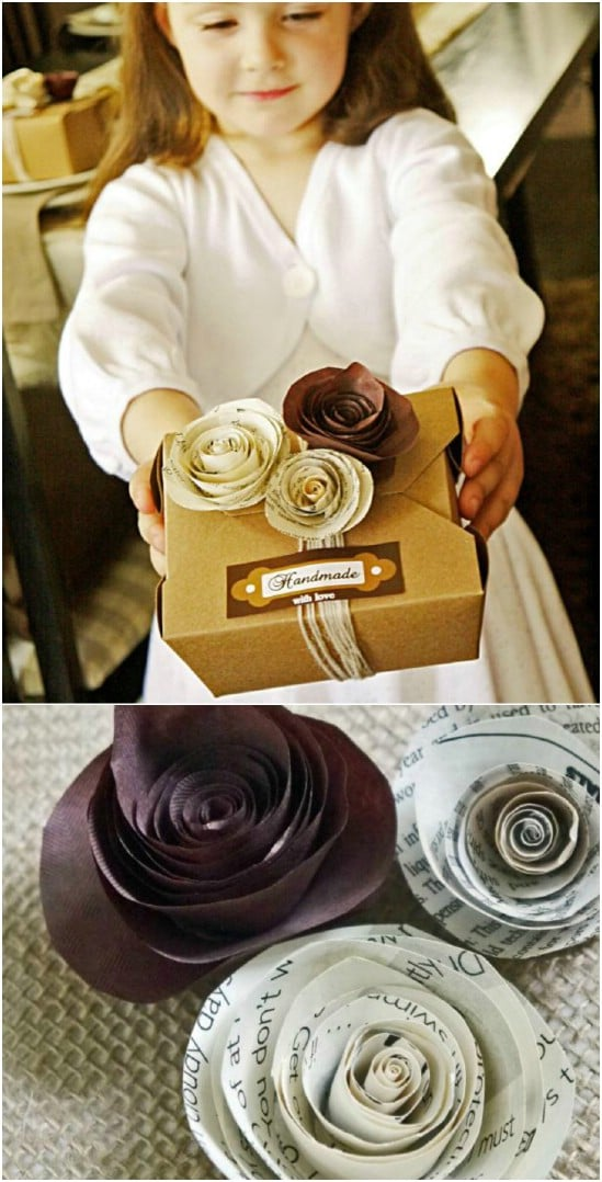 Decorative Rolled Book Paper Roses