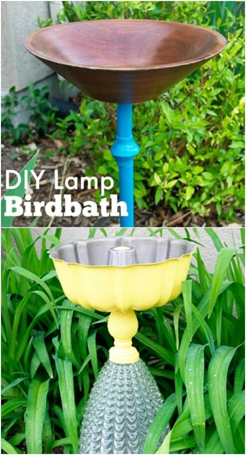 Recycled Lamp Base Bird Bath