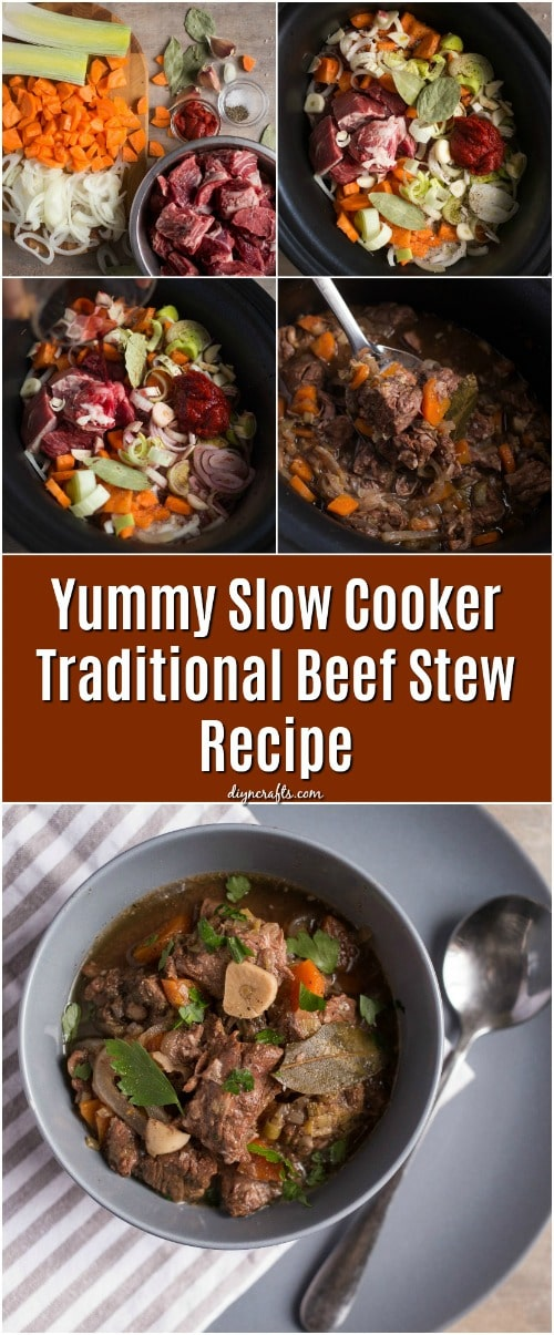 Yummy Slow Cooker Traditional Beef Stew Recipe #recipe #beefstew #slowcooker #crockpot #maindish