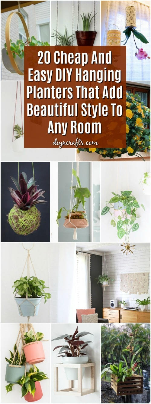 20 cheap and easy diy hanging planters that add beautiful for Cheapest way to add a room