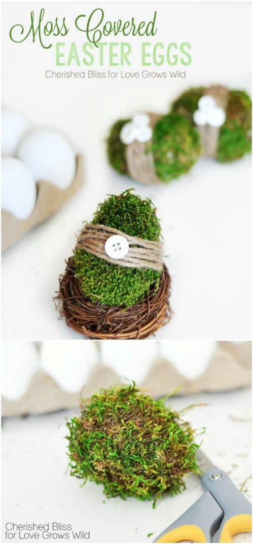 Decorative DIY Moss Covered Eggs