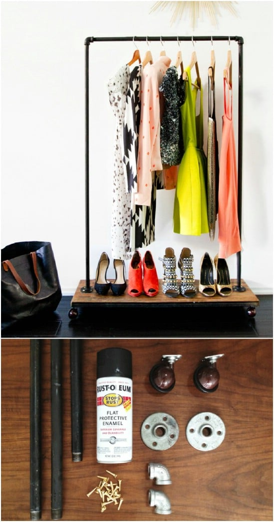 DIY Rolling Garment Rack Room Divider