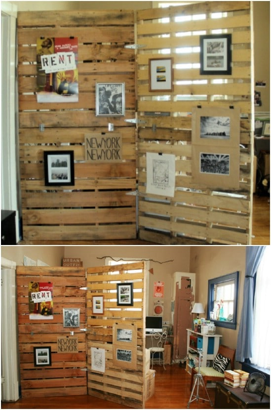 DIY Repurposed Pallet Room Divider