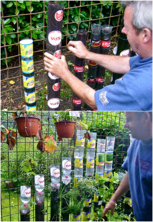 Upcycled Plastic Bottle Tower Garden