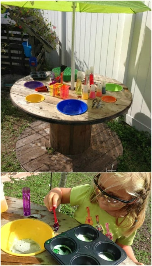 Repurposed Wooden Spool Science Lab