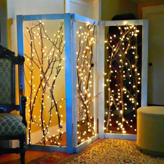 DIY Twinkling Branches Room Divider