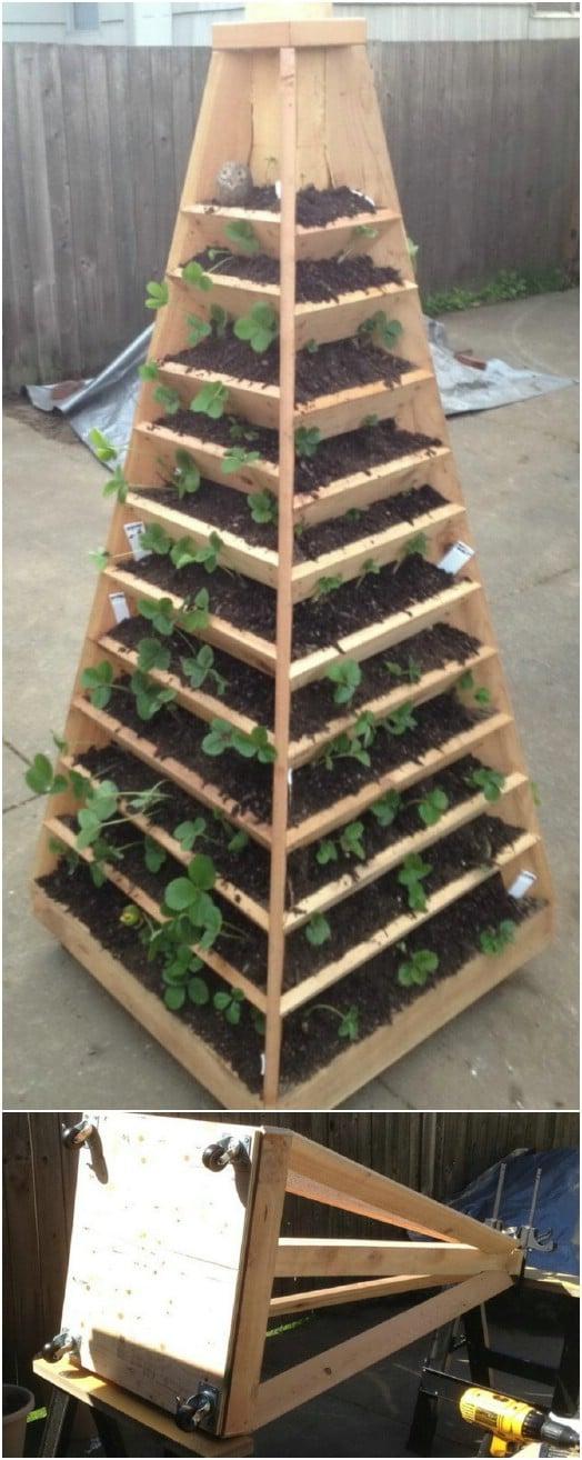 DIY Wooden Vertical Pyramid Tower