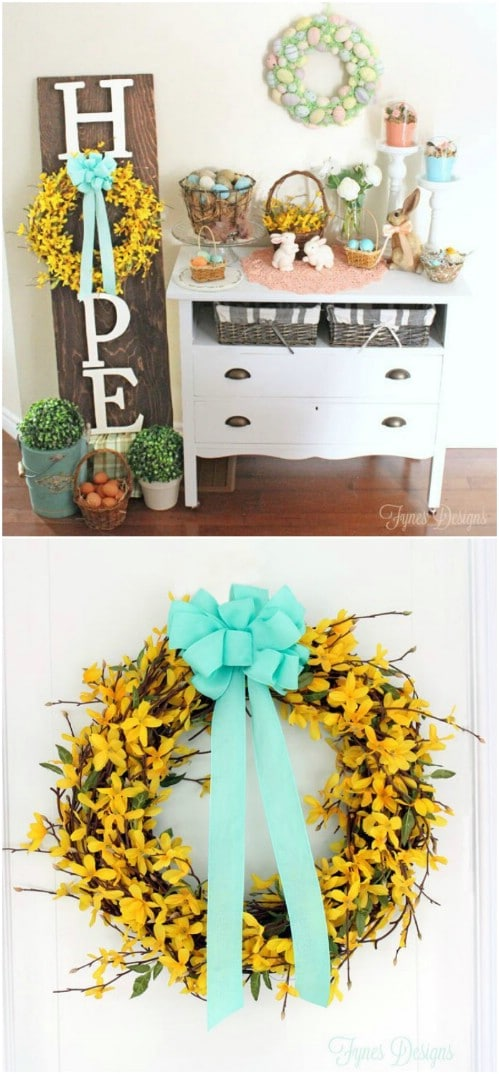Repurposed Wood Easter Wreath Sign