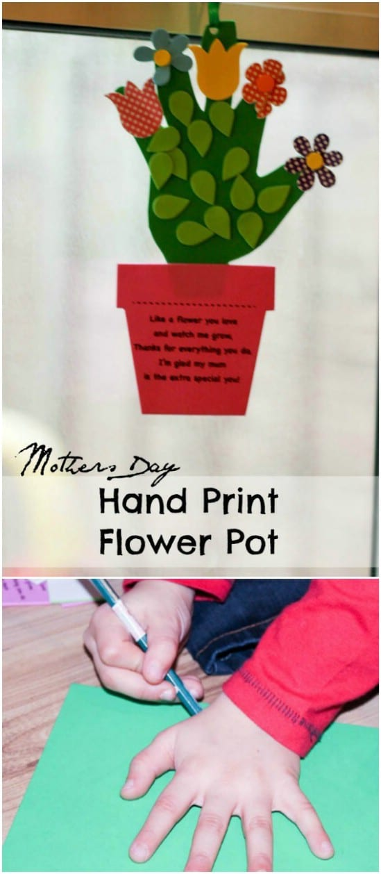 DIY Foam Handprint Flower Pot Card