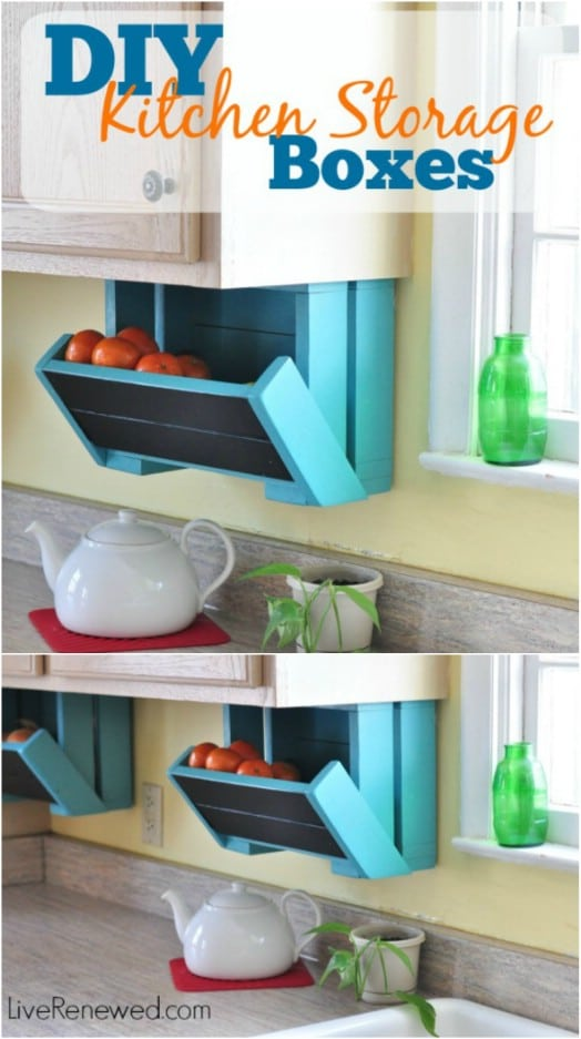 DIY Under Cabinet Wooden Produce Storage Boxes