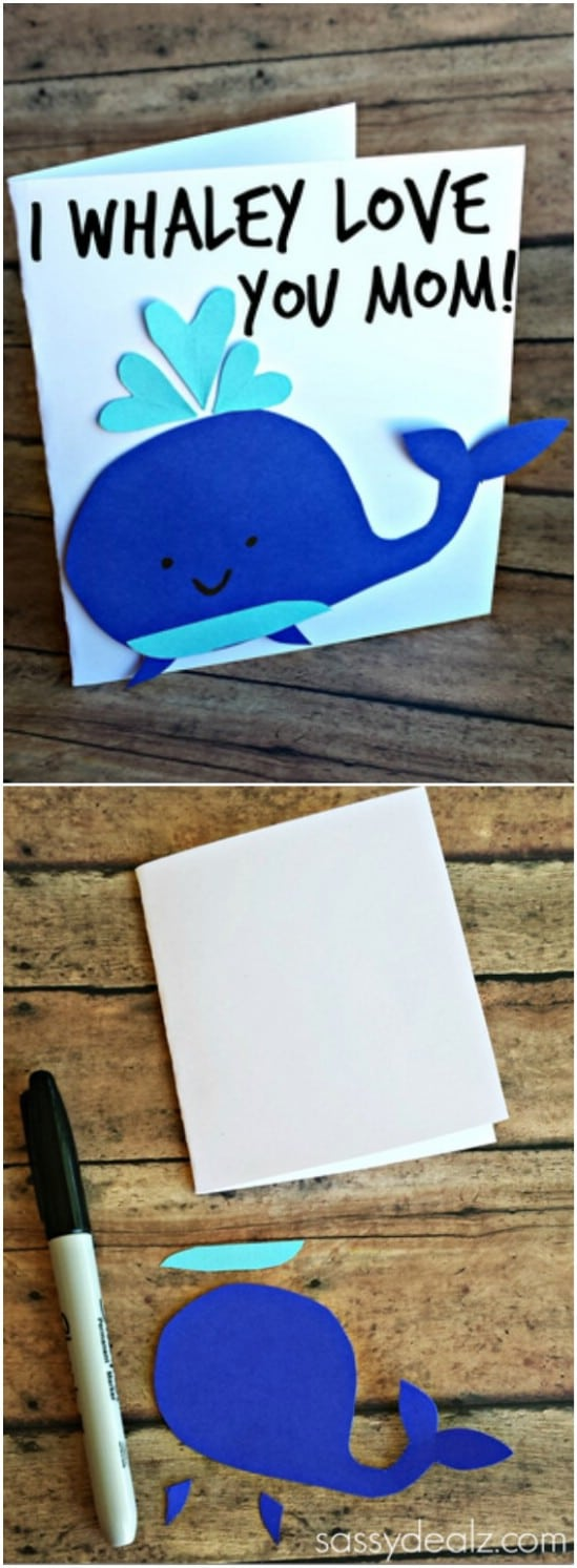 Easy DIY Whale Mother's Day Card