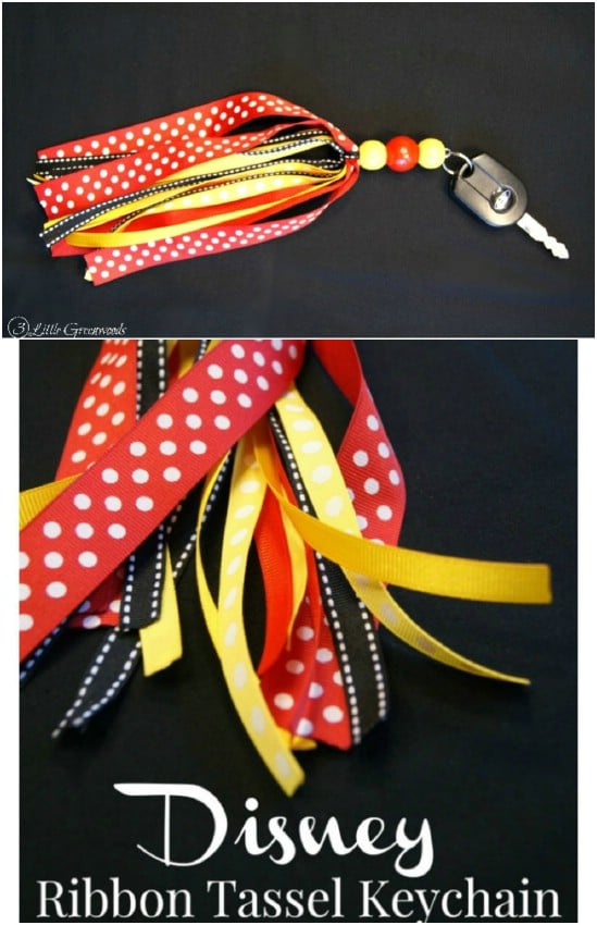 Disney Inspired Ribbon Keychain With Tassel