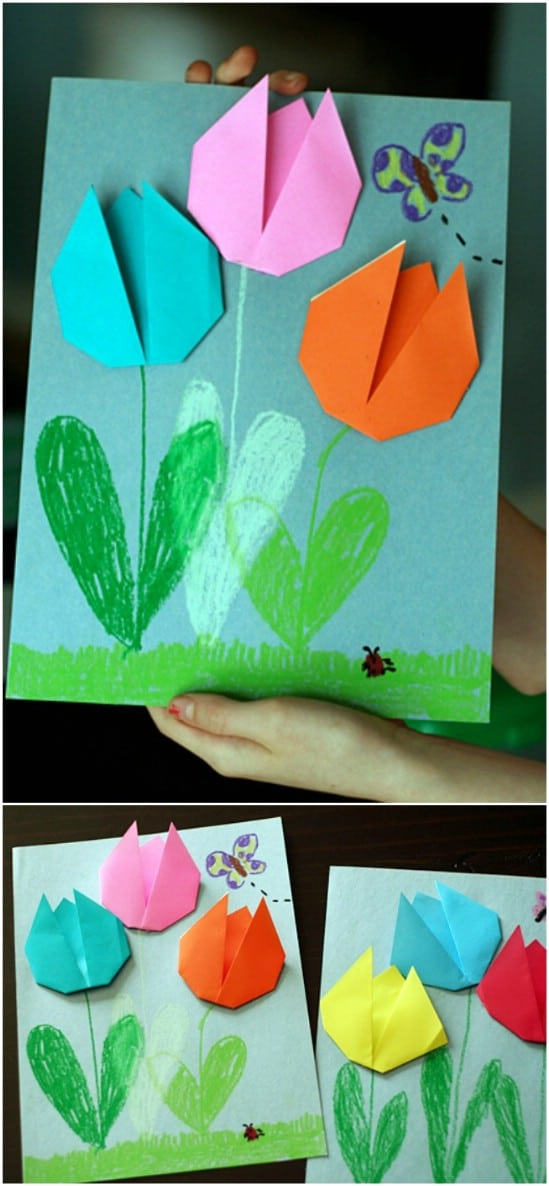Easy Origami Tulips Card