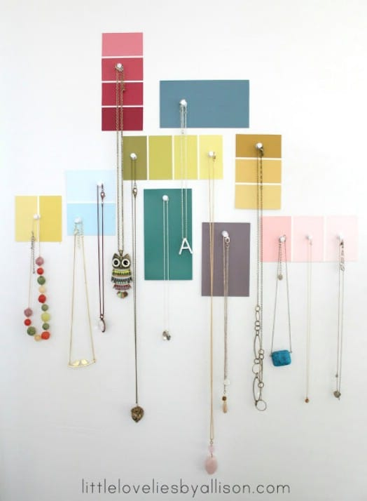 Repurposed Paint Chip Jewelry Display