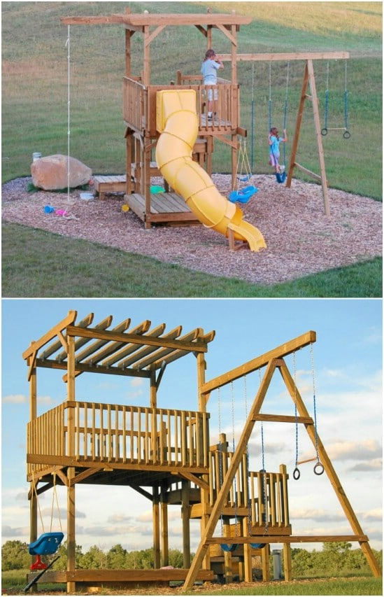 26 diy swings that turn your backyard into a playground for Diy jungle gym ideas