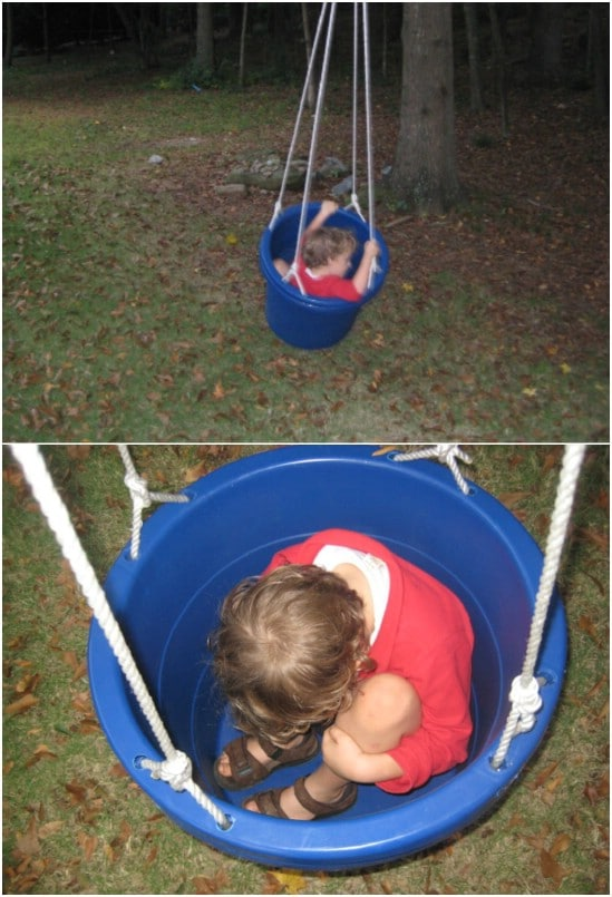 DIY Sensory Bucket Swings