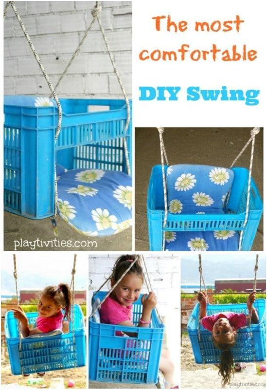 Easy DIY Plastic Crate Swing
