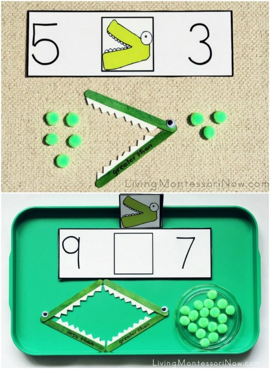 Montessori Inspired Alligator Math Game